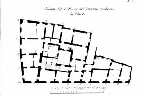 Pianta del I° piano del Palazzo Tabassi in Chieti